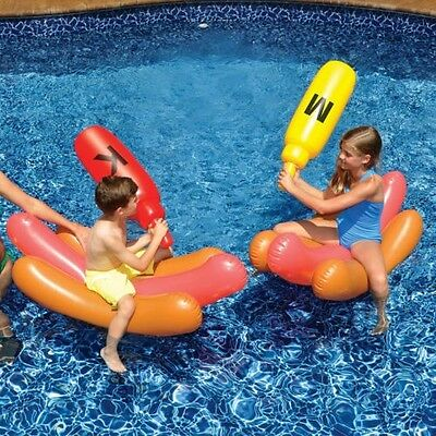 Hot Dog Battle Ride On Inflatable Set Pool Toy Knock Down Games Swimline 90842