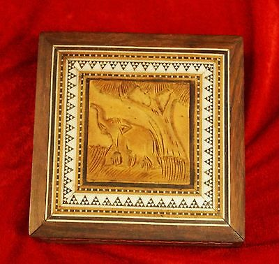 ANTIQUE HAND MADE WOOD CARVING ELEPHANT FIGURE jewellery BOX