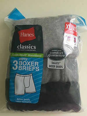 Hanes boys boxer briefs set of 3 size Xlarge 18-20  tagless Christmas gift!