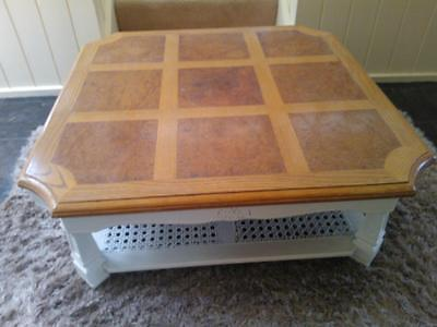french provincial/hamptons style coffee table with rattan storage shelf