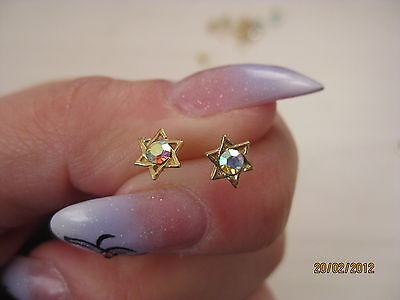 Silver Sterling 925 Gold Plated Gp Crystal Petit Star Of David Studs Earrings