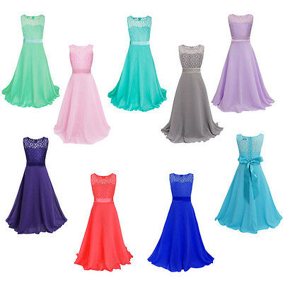 Kids Girls Flower Lace Bridesmaid Party Princess Prom Wedding Christening Dress