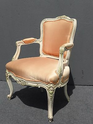 Beautiful Vintage French Provincial White Carved Wood Accent ARM CHAIR Coral