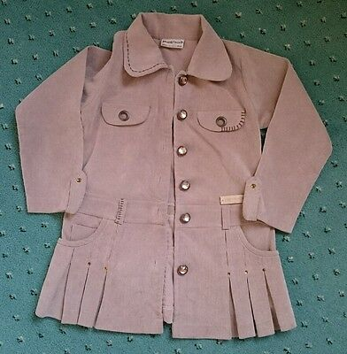 Girls coat jacket aged 6 cream beige cord jacket casual party wear