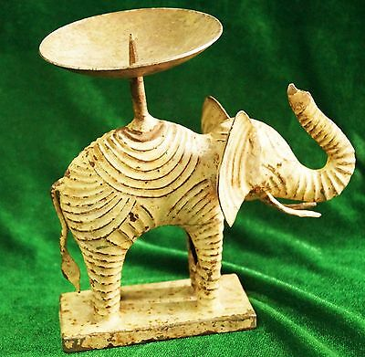 Antique Iron Handmade Elephant Figure Oil Lamp From India Size 17 Cms