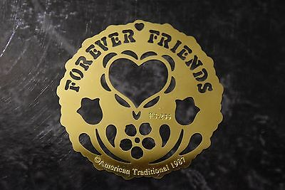 American Traditional Brass Embossing Stencil FS-235 Forever Friends Heart Motif