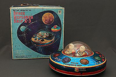 RARE Modern Toys B/O Space Explorer Ship X-3 Flying Saucer Tin Toy in Orig. BOX
