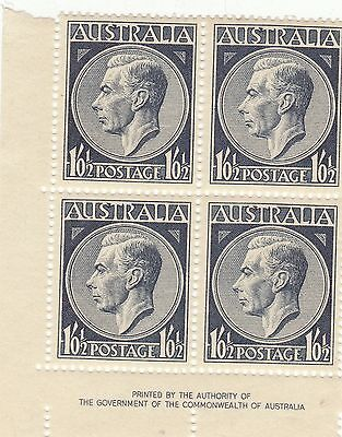 AUSTRALIA GEORGE 6TH 1/01/2d BLOCK OF STAMPS