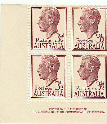 Australia George 6Th 31/2 Pence Block Of 4 Stamps