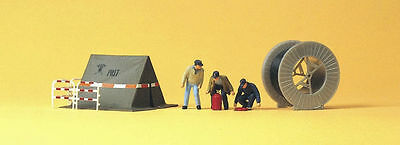 HO Model Trains Preiser #10374  - Telephone Workers with tent etc - Layout ready