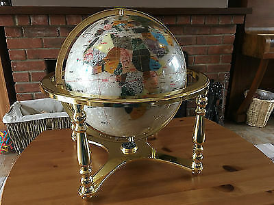 Mother Of Pearl Gemstone World Globe On Brass Stand With Compass