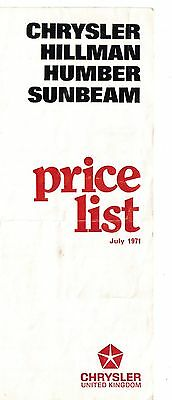 Chrysler Hillman Humber Sunbeam Price list July 1971 Imp HunterAvenger Alpine