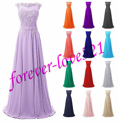 Long Chiffon Lace Evening Formal Party Ball Gown Prom Bridesmaid Dress Size6-18+