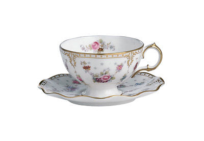New Royal Crown Derby  Antoinette Tea Cup & Saucer