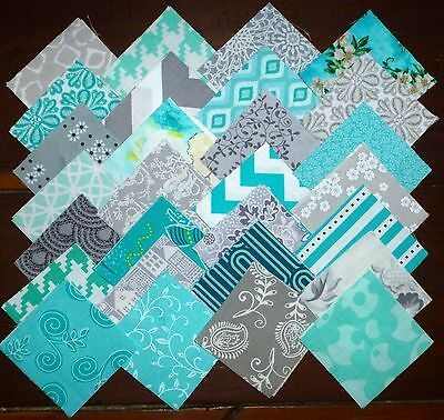 112 Teal Grey Mixed Prints Quilting Fabric 2.5 inch squares #34f