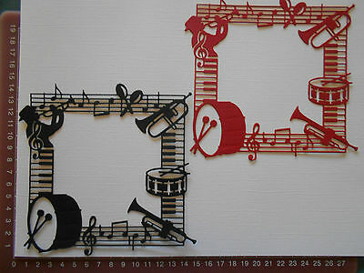 Die Cuts - Embellishments - Frame - Music - Red, Black - Instruments - Large x2