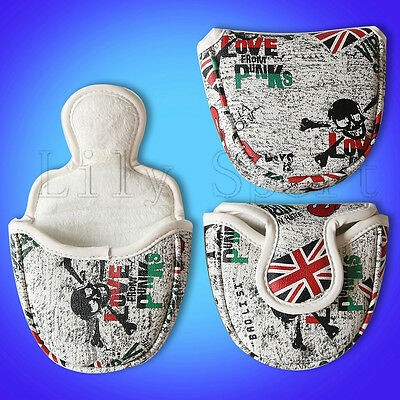 New Magnetic Union Jack Mallet Golf Putter Head Cover For Odessey 2 Ball Skull