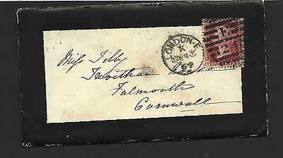"""1869 1d Red Plate 100 Mourning """"Lady"""" Cover To Falmouth Including Letter"""