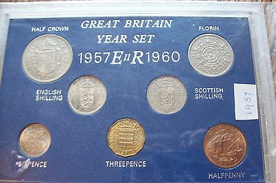 Royal Mint Great Britain 1957 Pre Decimal 7 Coin Year Set