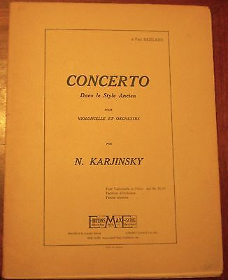 KARJINSKI / Concerto dans le style ancien/ CELLO / VIOLONCELLE/  sheet music