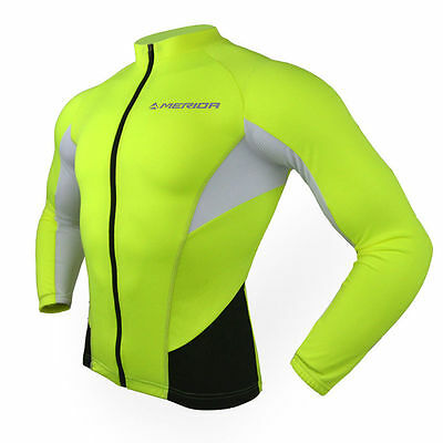 Green Men's Long Sleeve Cycling Jersey Top Racing Bike Bicycle Jersey Reflective
