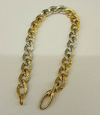 Beautiful 9Ct White & Yellow Gold Patterned Curb Bracelet