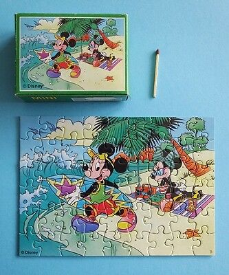 altes Master-line Mini Puzzle 54 Disney Mickey Minnie Mouse Strand Micky Maus