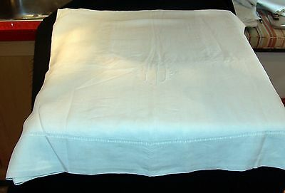 Nice vintage large french linen / metis marriage bed sheet monogrammed MH - LU