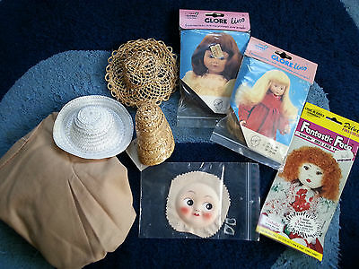 DOLL MAKING Face, Hats, Wigs and Hair and fabric BULK LOT