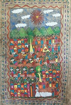 Original Art Work Mexican Amate Bark Painting Wedding Scene Framed