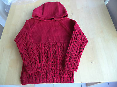 "Boys hand knitted hooded jumper 24"" chest approx age 3-4 years  Burghundy"