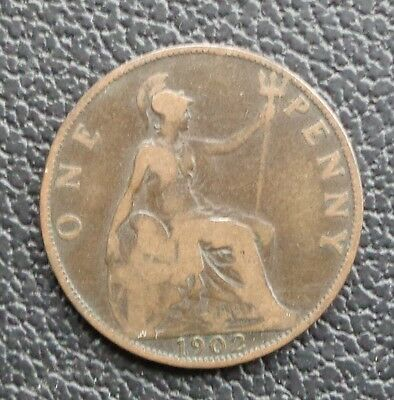 1902 Edward Vii One Penny Coin (Low Tide)