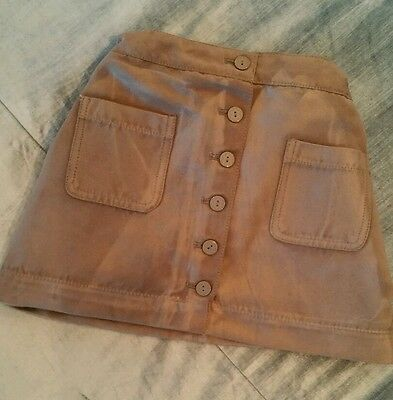 Girls faux suede button skirt light tan brown 5 years Okaidi