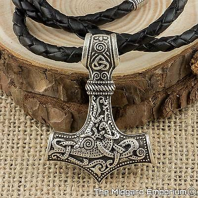 Viking Necklace Thor's Hammer Silver Mjolnir Pendant With Leather Necklace