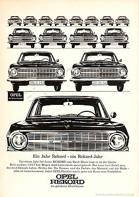 1964 OPEL REKORD Authentic VINTAGE German Magazine CAR AD