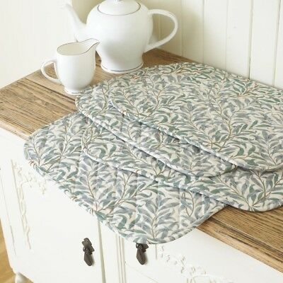 William Morris Willow Bough Green Quilted Cotton Floral Placemats.