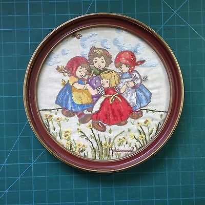 Vintage Crewel wool work Embroidery Ring. 'o ' Roses Completed & Framed