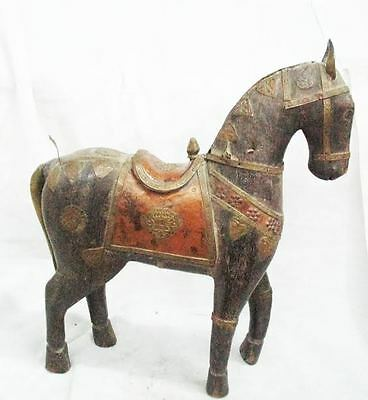 ANTIQUE ISLAMIC  Carved Wooden Horse Iron Brass Copper FROM INDIA SIZE 30 CMS