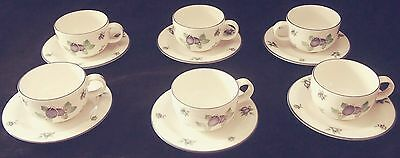 "Royal Doulton ""Blueberry"" everyday fine china cups and saucers, set of 6"