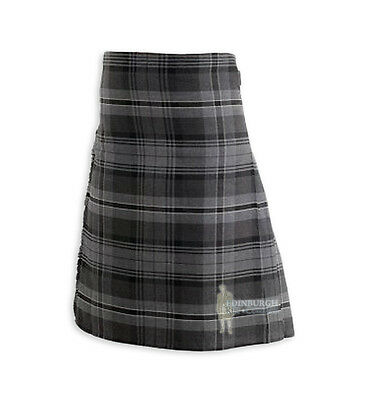 Mens Scottish Tartan Deluxe 8-Yard Kilt - Hamilton Grey 30-32""