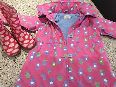 Girls 3/4y Coat By Oscar Lily And Next Wellies Size 9 Great Condition