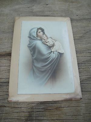 Vintage Religious Lithograph Mother Mary & Baby Jesus Size 4.5 cm x 6.5 cm.