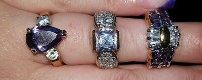 Costume jewelry ring lot of 3 gold and purple