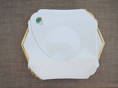 Shelley Art Deco Vogue Mode Blocks Cake Plate, Green & Gilt, Lovely Condition