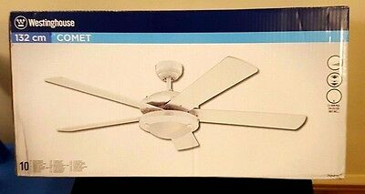 NEW Westinghouse Comet 132 cm/ 52-inches Ceiling Fans, White-White/ Washed Pine