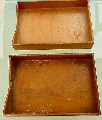 Vintage Wooden Desk Trays (2) and 3 wire trays