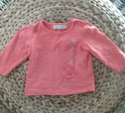 T shirt corail manches longues fille 3 mois marque Bout chou