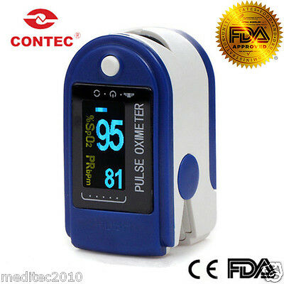 FDA Approved Contec Fingertip Pulse Oximeter Blood Oxygen SPO2 Monitor CMS50D