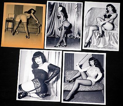 BETTY BETTIE PAGE 5pc Fetish Stockings Black White Photo Lot Pin Up Misc Sizes