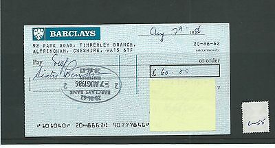 wbc. - CHEQUE - CH1055 - USED -1986- BARCLAYS, TIMPERLEY, CHESHIRE